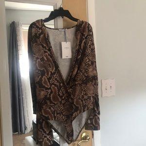 Zara plunging brown snakeskin bodysuit